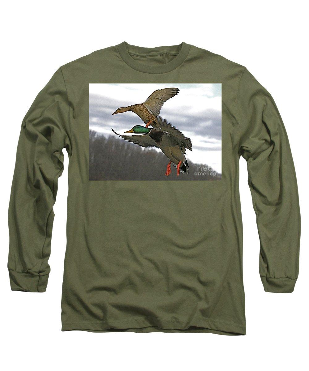Duck Long Sleeve T-Shirt featuring the photograph Two Land by Robert Pearson