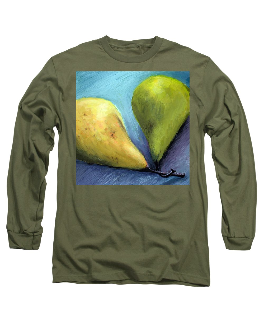 Pear Long Sleeve T-Shirt featuring the painting Two Pears Still Life by Michelle Calkins