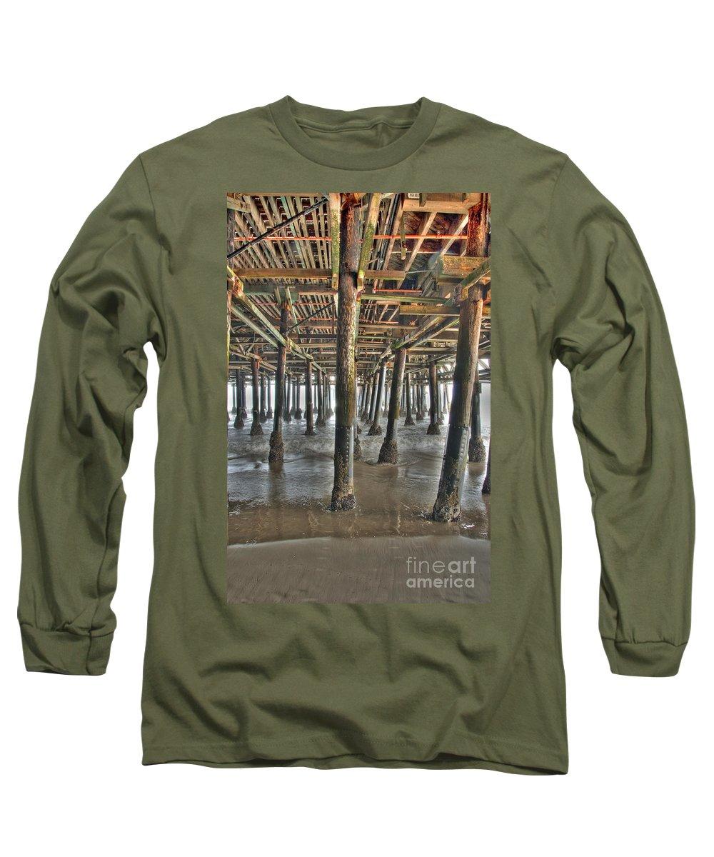 Under The Boardwalk Long Sleeve T-Shirt featuring the photograph Under The Boardwalk Pier Sunbeams by David Zanzinger
