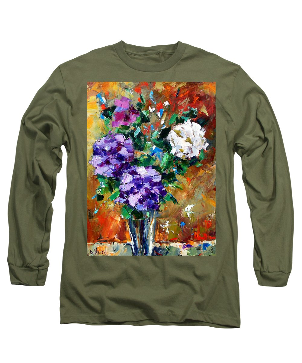 Flowers Long Sleeve T-Shirt featuring the painting Vase Of Color by Debra Hurd