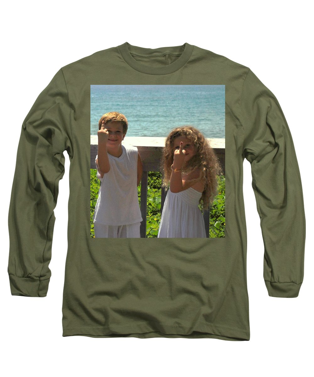 Kids Long Sleeve T-Shirt featuring the photograph Very Naughty Angels by Rob Hans
