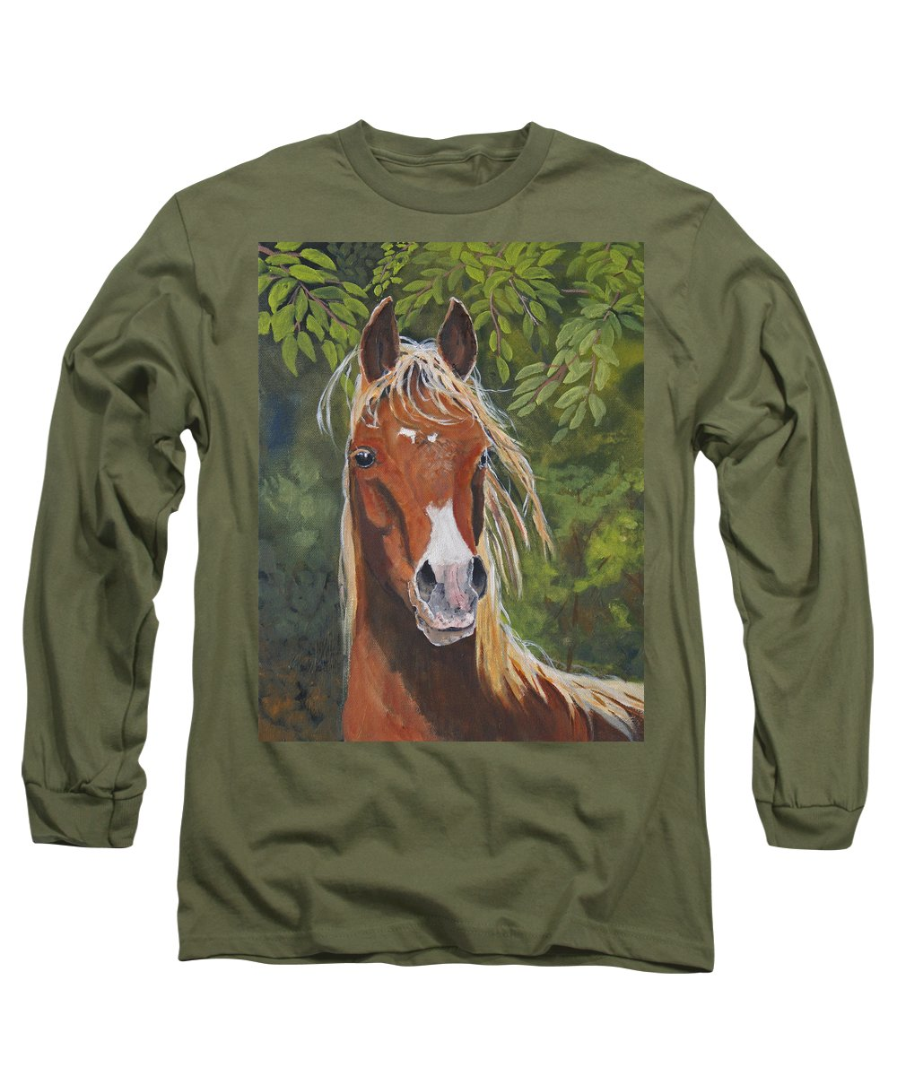 Horse Long Sleeve T-Shirt featuring the painting Victory by Heather Coen