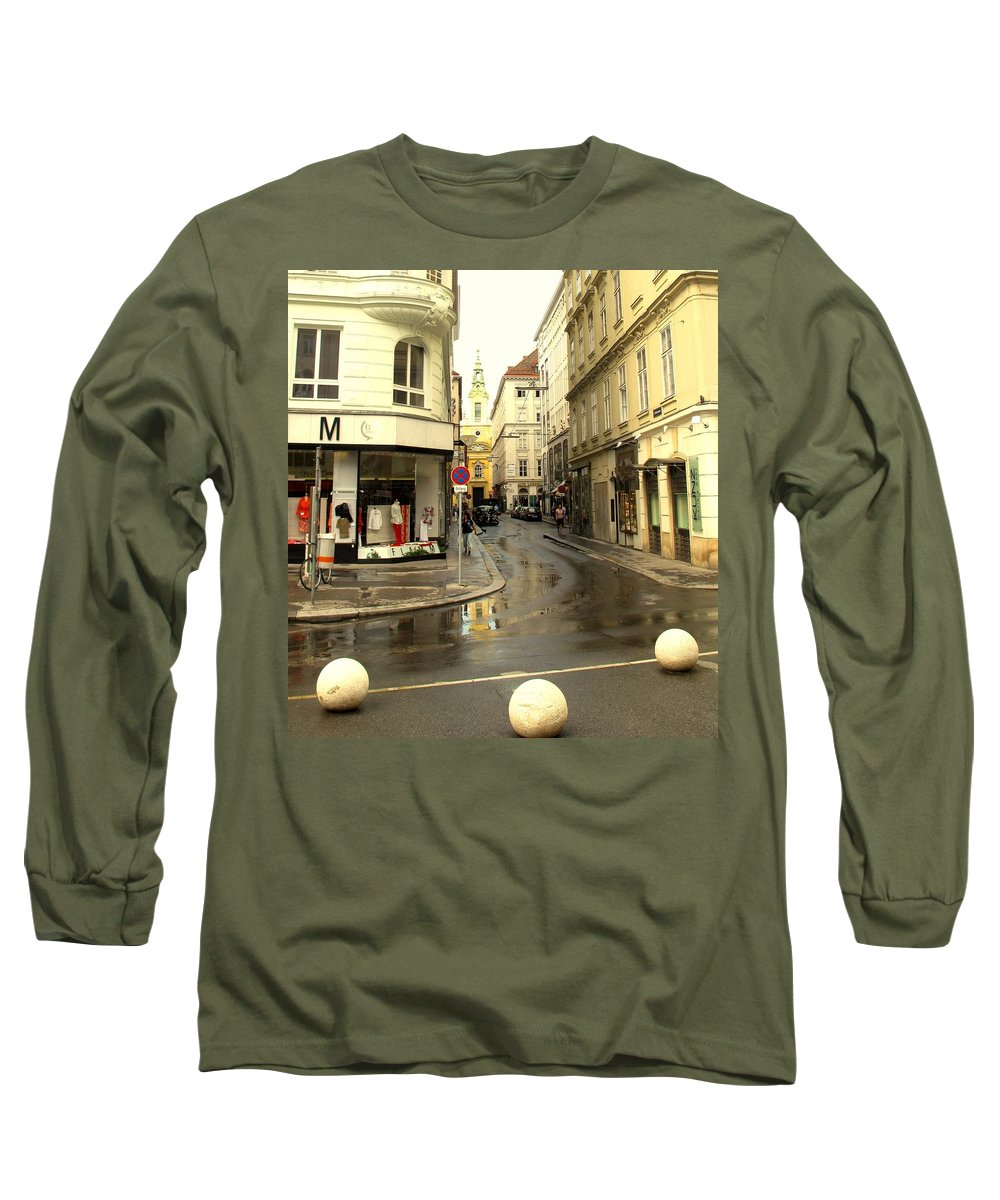 Vienna Long Sleeve T-Shirt featuring the photograph Vienna Corner After The Rain by Ian MacDonald