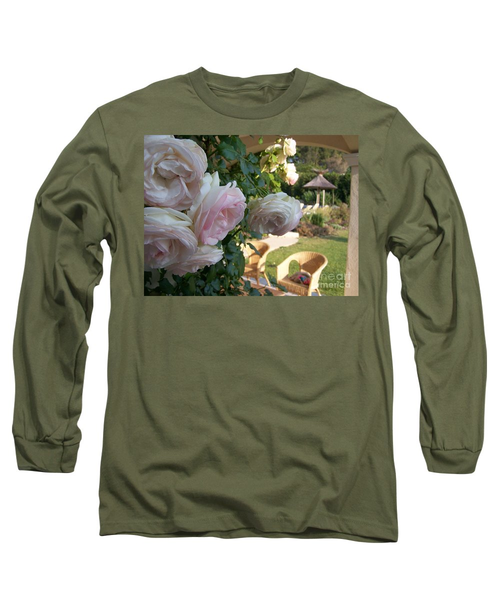 Roses Long Sleeve T-Shirt featuring the photograph Villa Roses by Nadine Rippelmeyer