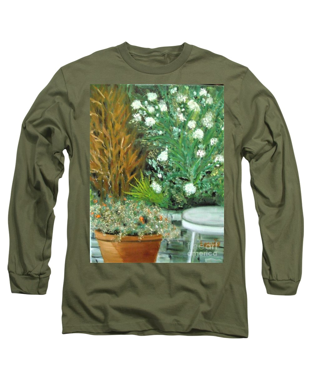 Virginia Long Sleeve T-Shirt featuring the painting Virginia's Garden by Laurie Morgan