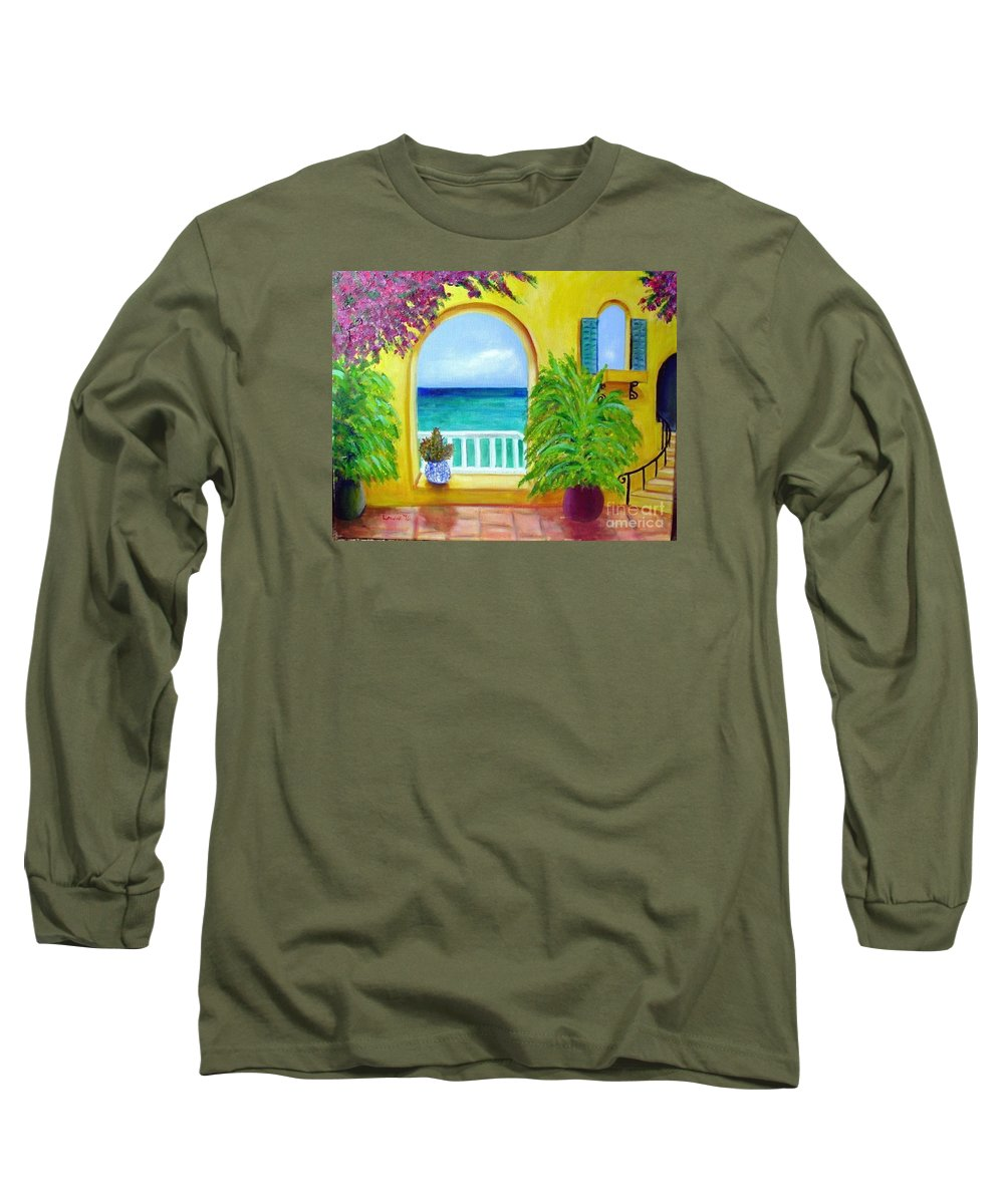 Patio Long Sleeve T-Shirt featuring the painting Vista Del Agua by Laurie Morgan