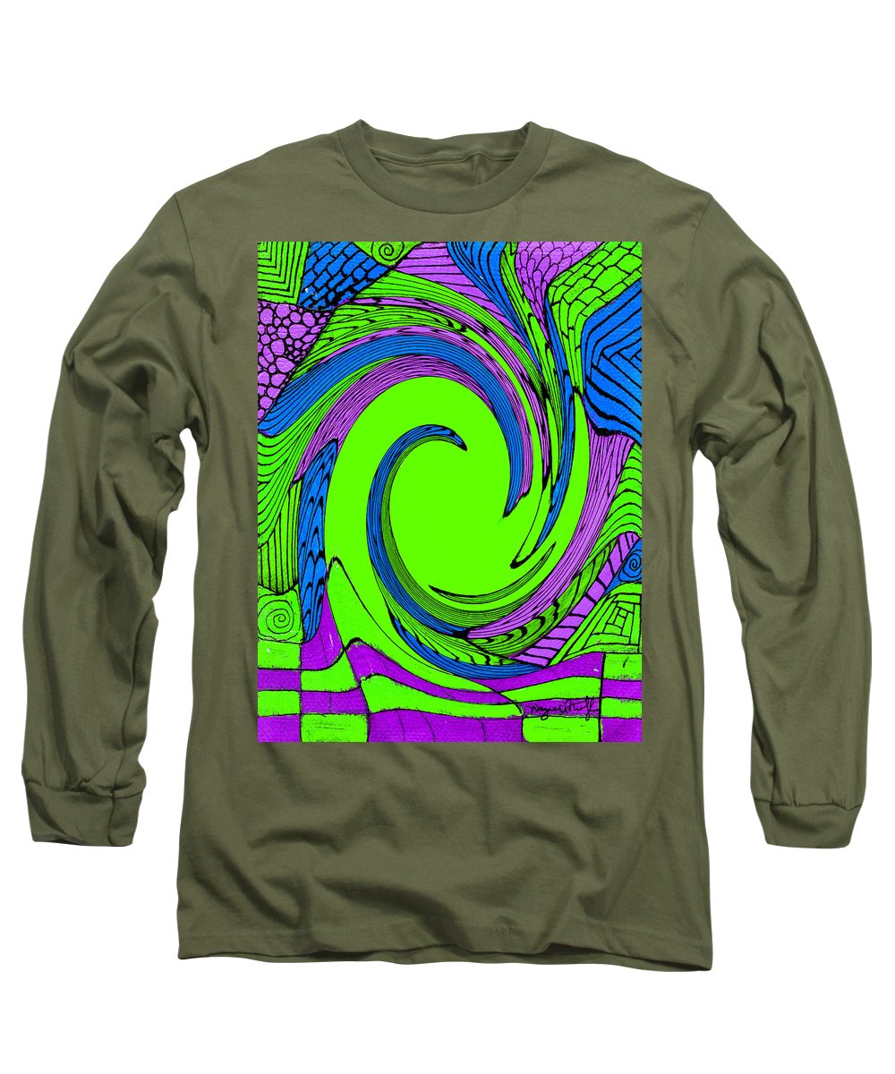 Vortex Long Sleeve T-Shirt featuring the painting Vortex by Wayne Potrafka
