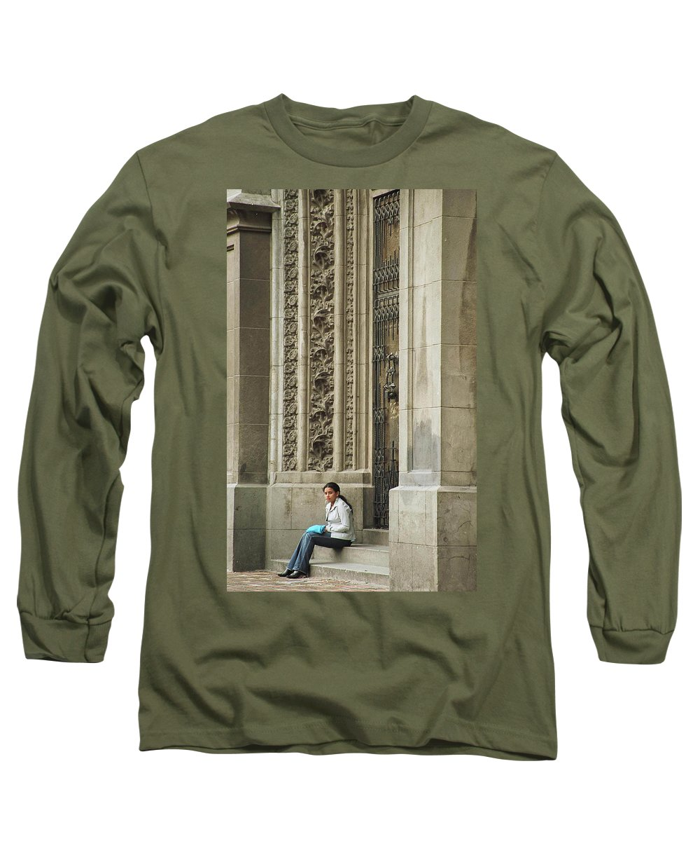 Church Long Sleeve T-Shirt featuring the photograph Waiting For God by Kathy McClure