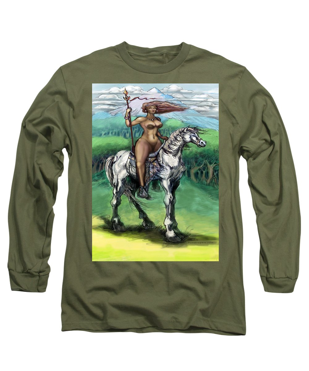 Warrior Long Sleeve T-Shirt featuring the painting Warrior Maiden by Kevin Middleton