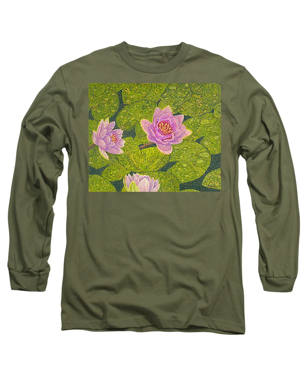 Water Lilies Long Sleeve T-Shirt featuring the drawing Water Lilies Lily Flowers Lotuses Fine Art Prints Contemporary Modern Art Garden Nature Botanical by Baslee Troutman