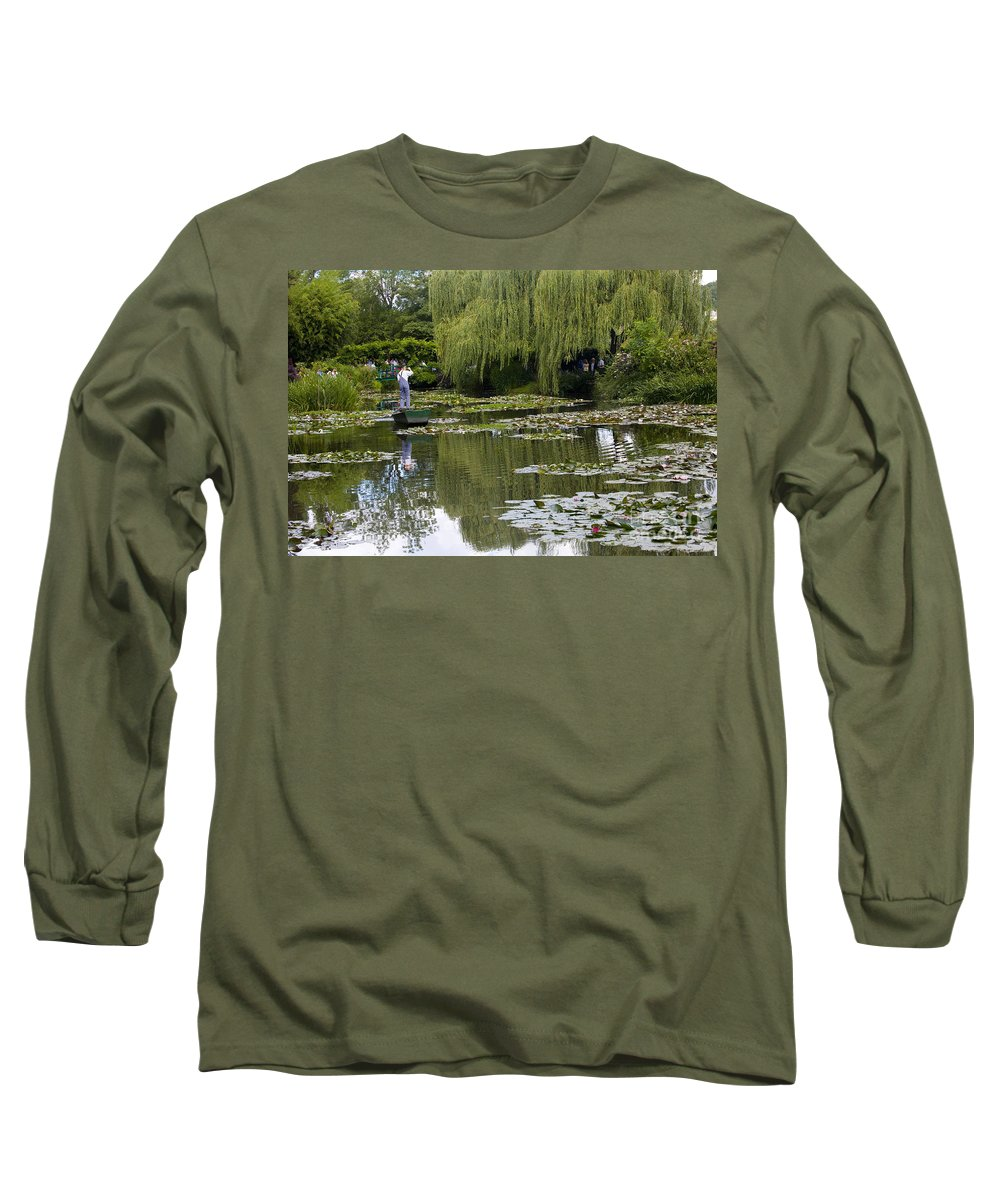 Monet Gardens Giverny France Water Lily Punt Boat Water Willows Long Sleeve T-Shirt featuring the photograph Water Lily Garden Of Monet In Giverny by Sheila Smart Fine Art Photography