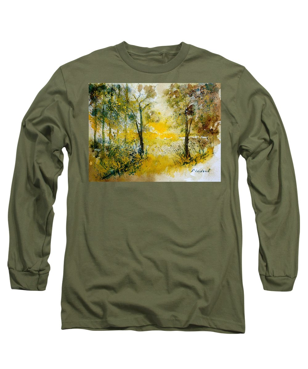 River Long Sleeve T-Shirt featuring the painting Watercolor 210108 by Pol Ledent