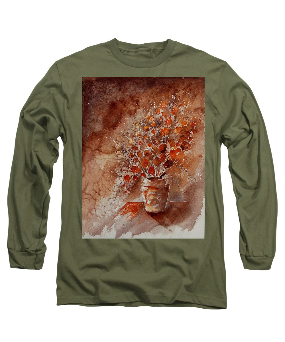 Poppies Long Sleeve T-Shirt featuring the painting Watercolor Autumn Bunch by Pol Ledent