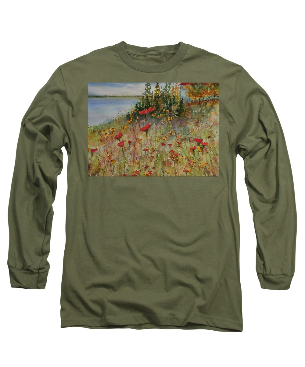 Nature Long Sleeve T-Shirt featuring the painting Wendy's Wildflowers by Ruth Kamenev