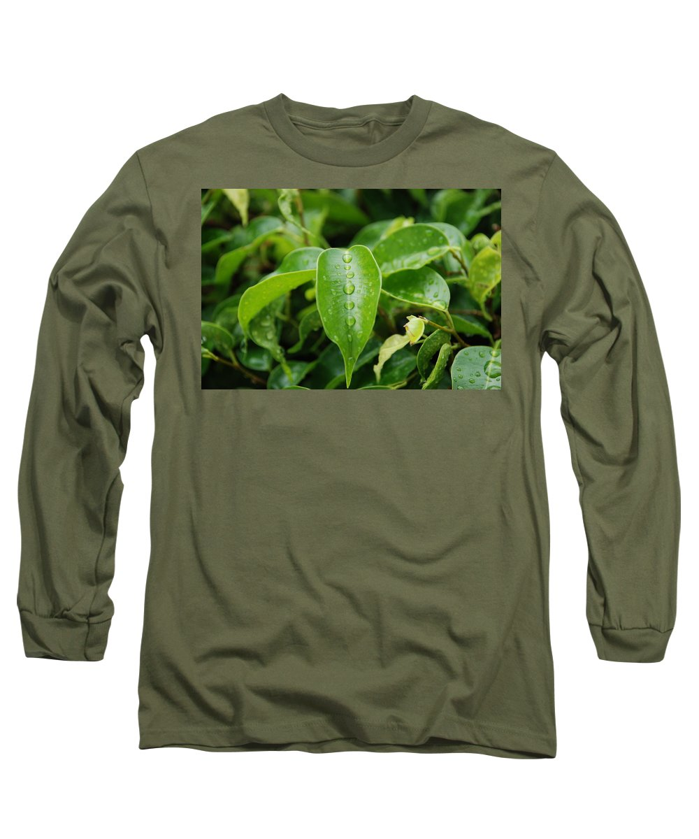 Macro Long Sleeve T-Shirt featuring the photograph Wet Bushes by Rob Hans