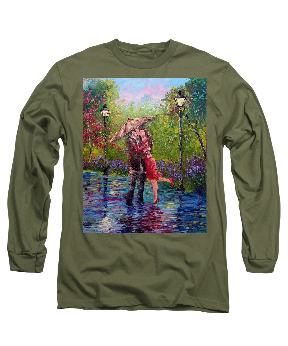 Kiss Long Sleeve T-Shirt featuring the painting Wet Kiss by David G Paul
