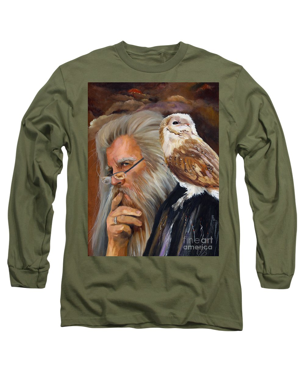 Wizard Long Sleeve T-Shirt featuring the painting What If... by J W Baker