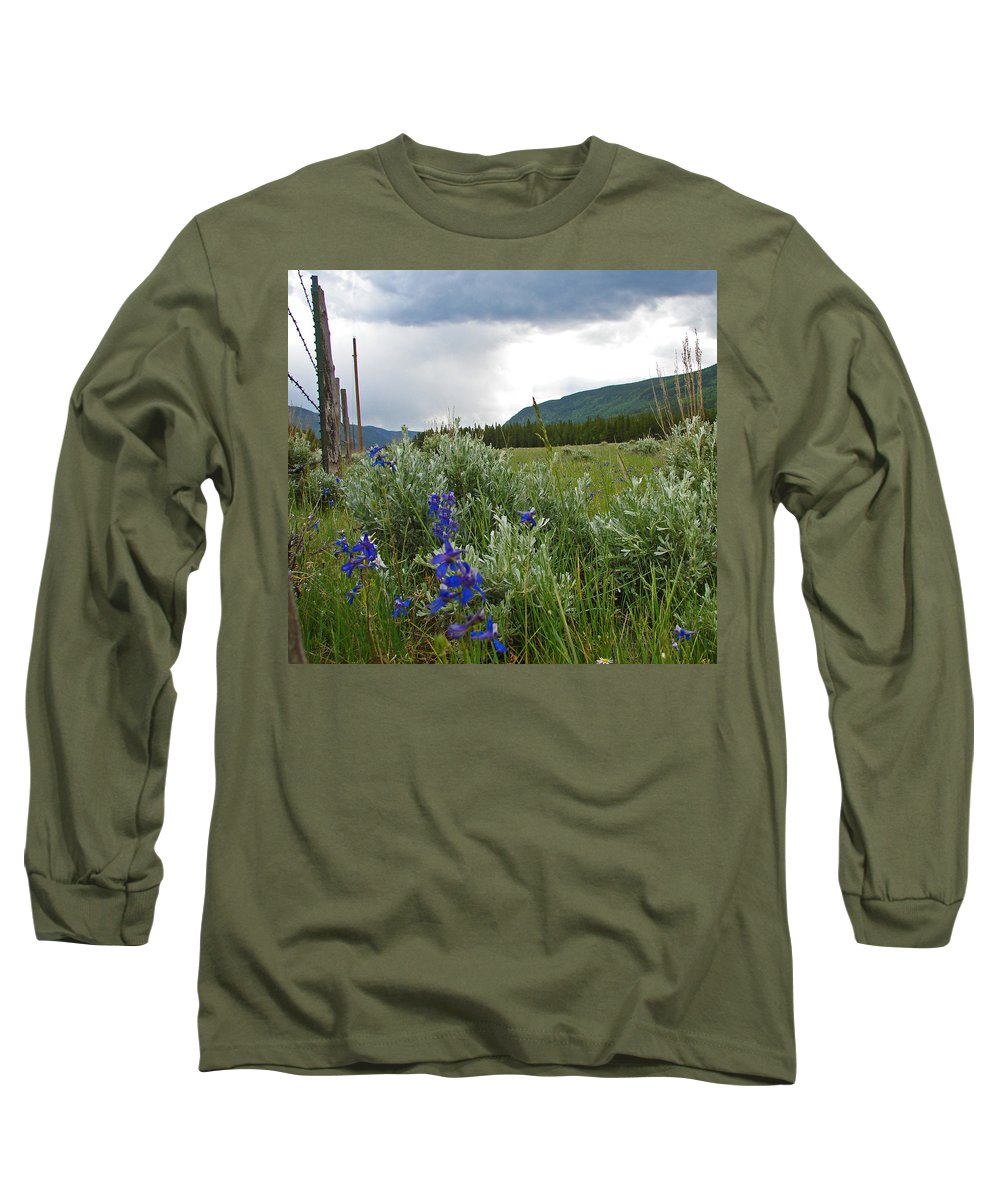 Wild Flowers Long Sleeve T-Shirt featuring the photograph Wild Delphinium by Heather Coen