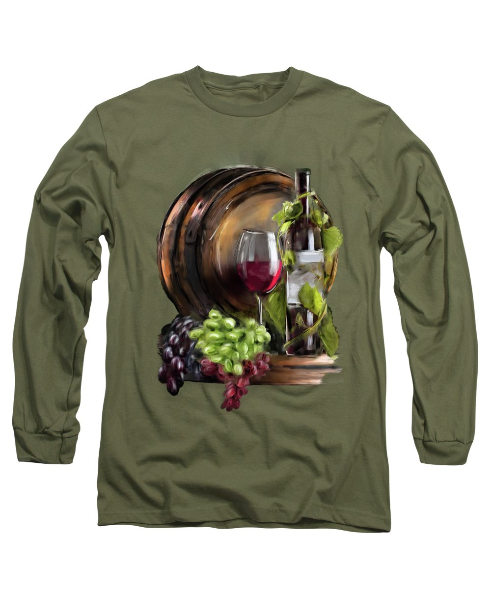 Wine Long Sleeve T-Shirt featuring the painting Wine Cellar by Melanie D