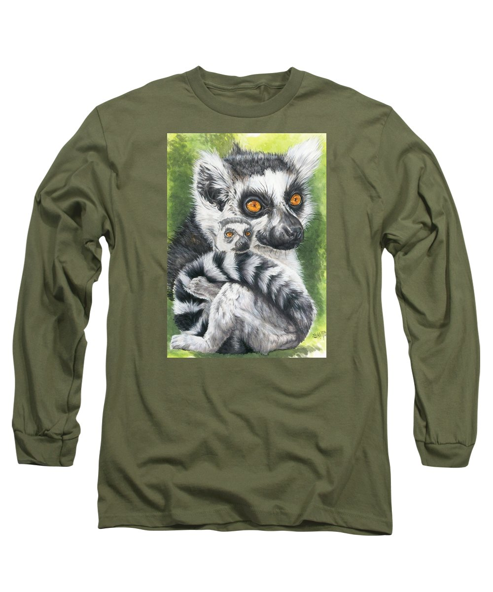 Lemur Long Sleeve T-Shirt featuring the mixed media Wistful by Barbara Keith