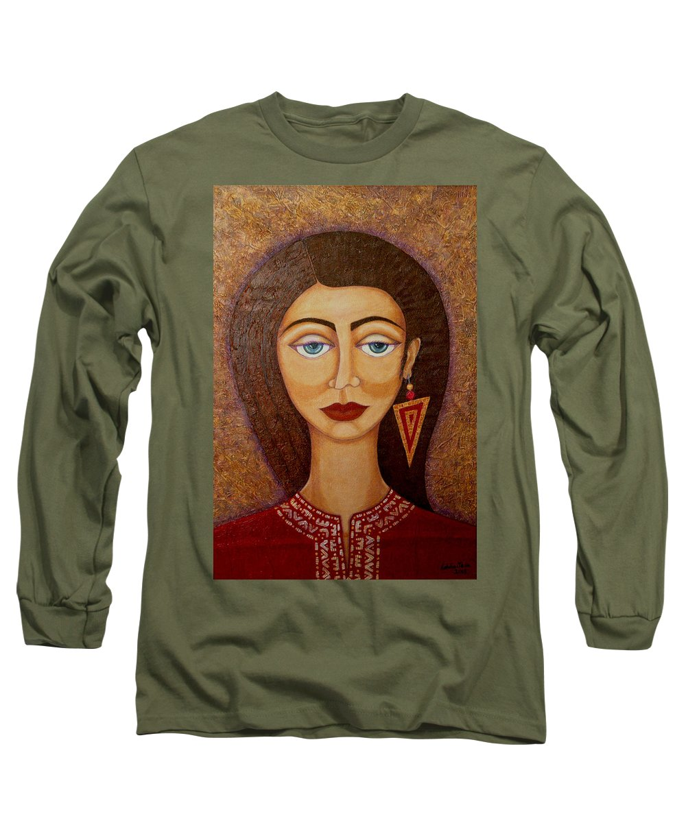 Market Long Sleeve T-Shirt featuring the painting Woman S Market by Madalena Lobao-Tello