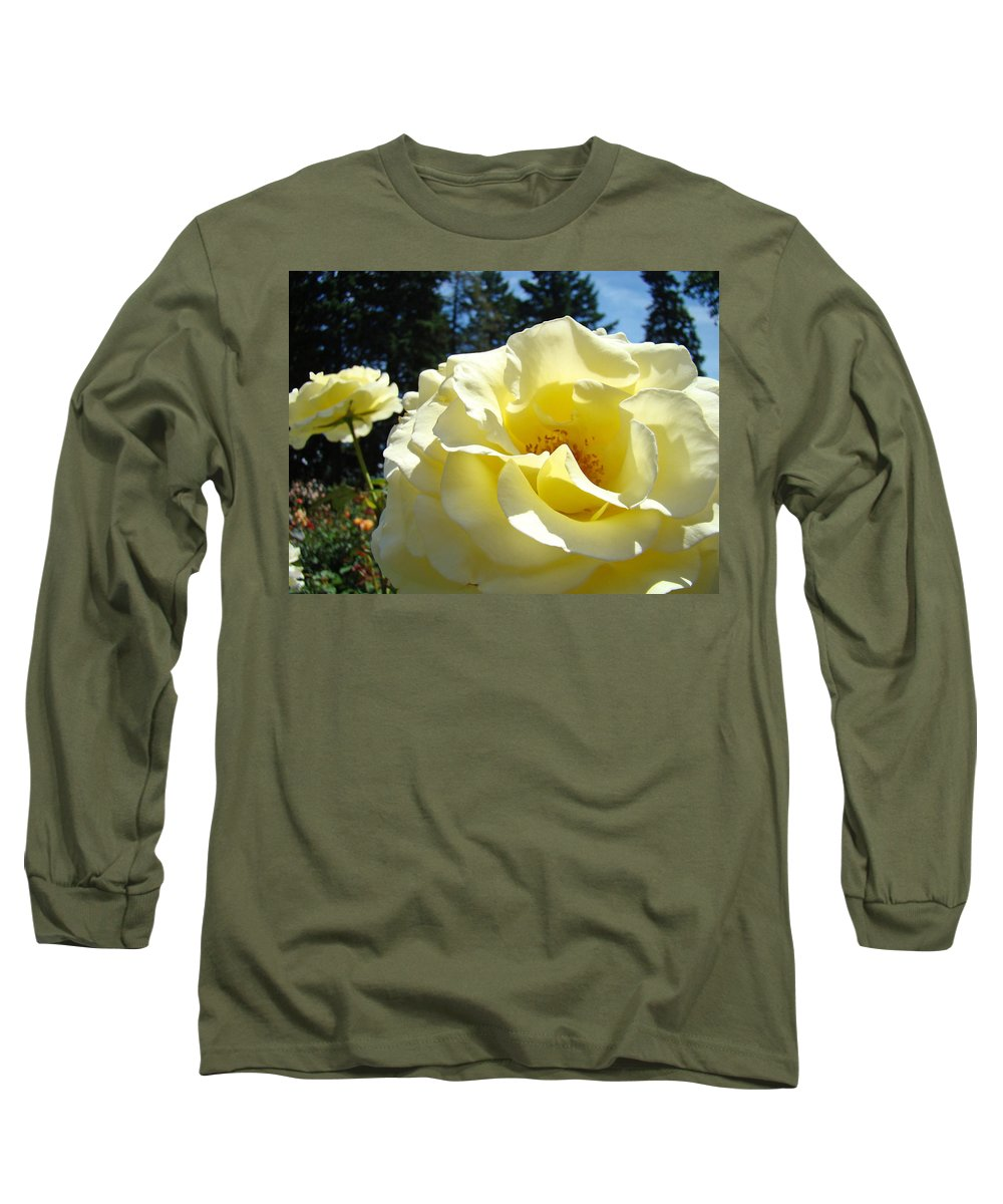 Rose Long Sleeve T-Shirt featuring the photograph Yellow Rose Garden Landscape 3 Roses Art Prints Baslee Troutman by Baslee Troutman