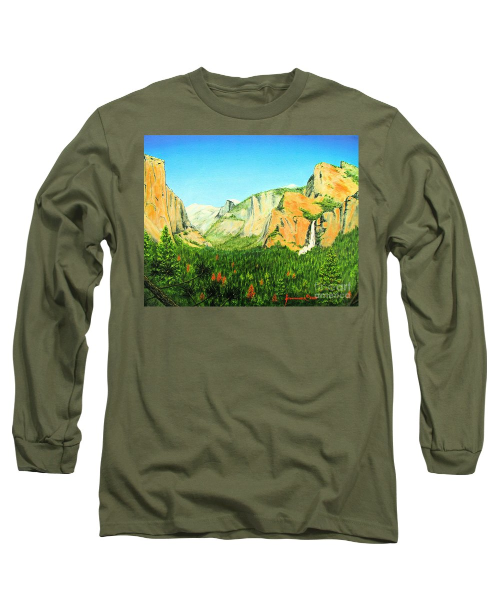 Yosemite National Park Long Sleeve T-Shirt featuring the painting Yosemite National Park by Jerome Stumphauzer