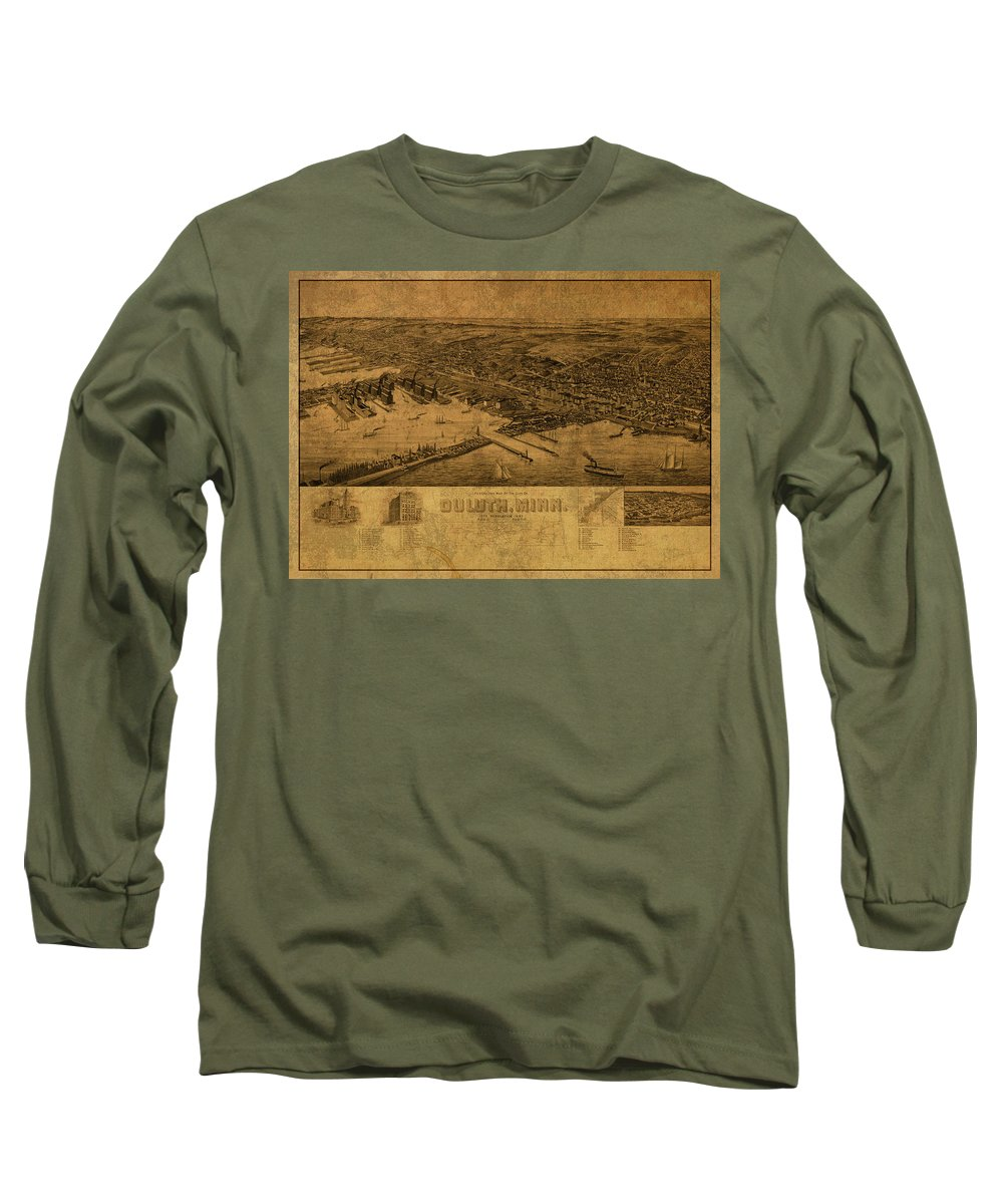 Duluth Long Sleeve T-Shirt featuring the mixed media Duluth Minnesota Vintage City Street Map 1893 by Design Turnpike