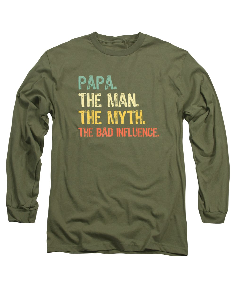 girls' Novelty Clothing Long Sleeve T-Shirt featuring the digital art Papa The Man The Myth The Bad Influence Gift T-shirt by Unique Tees