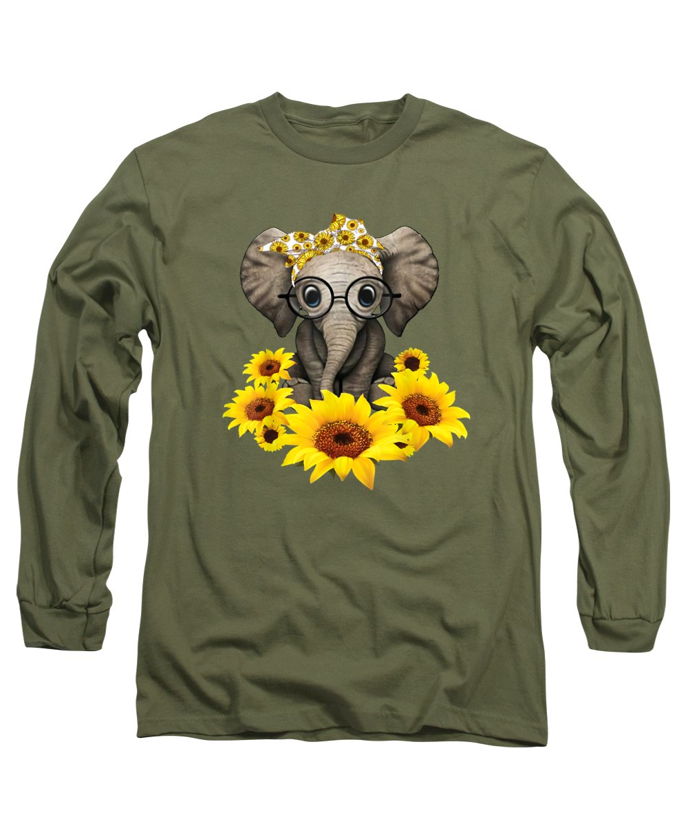 girls' Novelty Clothing Long Sleeve T-Shirt featuring the digital art Sunflower Elephant Shirt For Woman Who Loves Elephant by Unique Tees