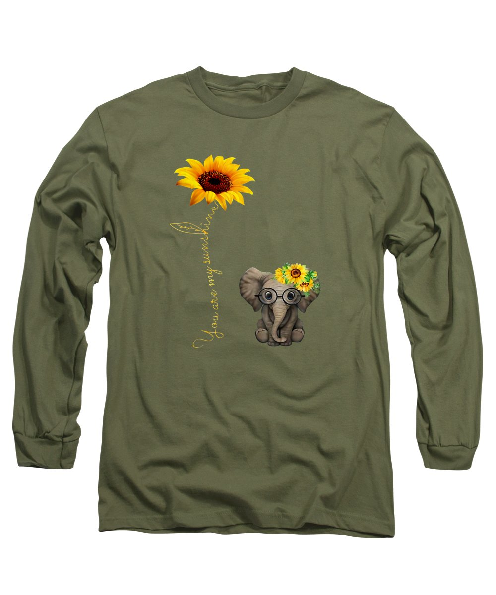 men's Novelty T-shirts Long Sleeve T-Shirt featuring the digital art You Are My Sunshine Hippie Sunflower Elephant Shirt by Unique Tees