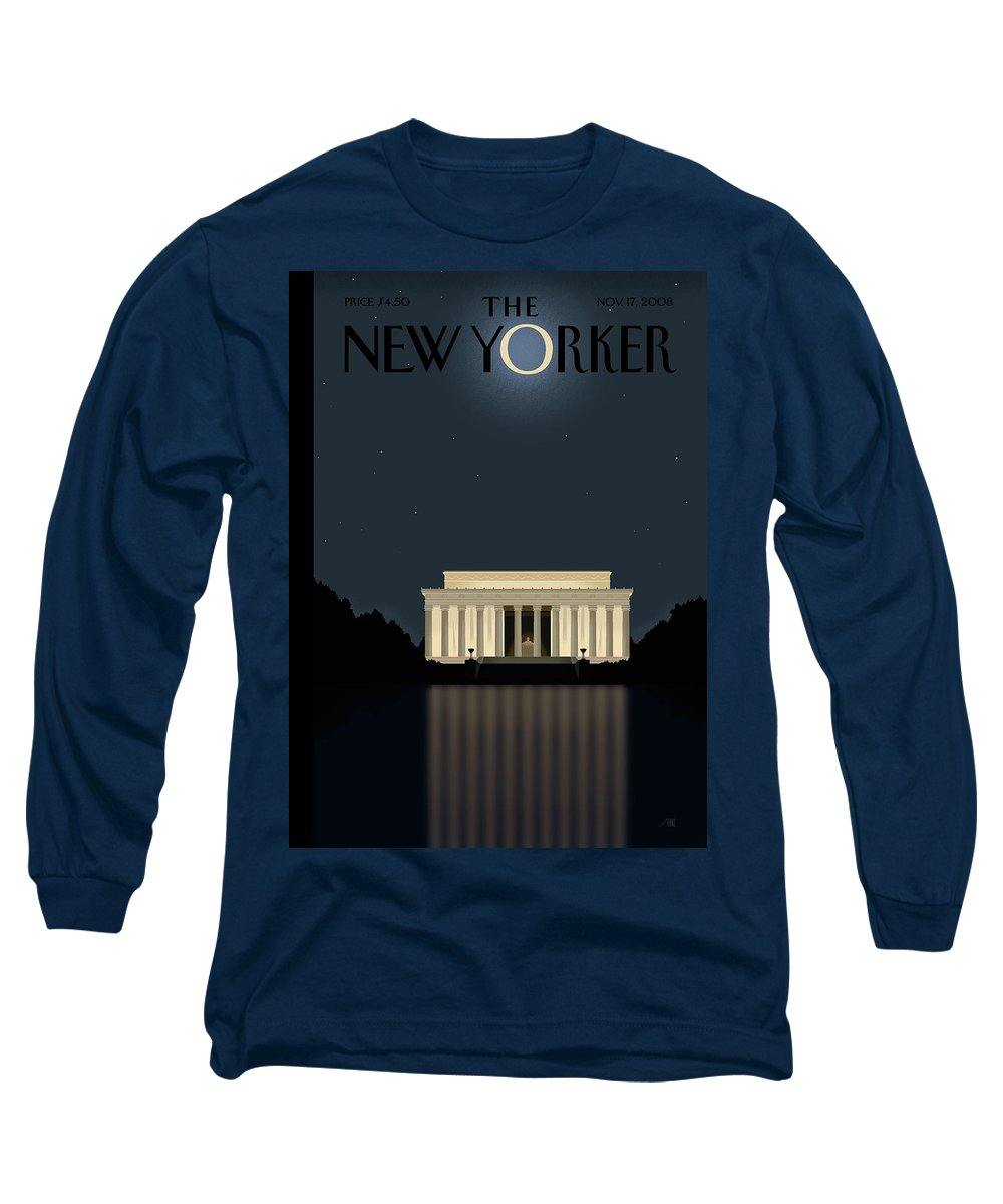 Lincoln Long Sleeve T-Shirt featuring the painting New Yorker November 17th, 2008 by Bob Staake