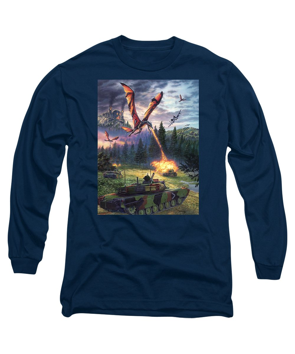 Dragon Long Sleeve T-Shirt featuring the painting A Clash Of Worlds by Stu Shepherd