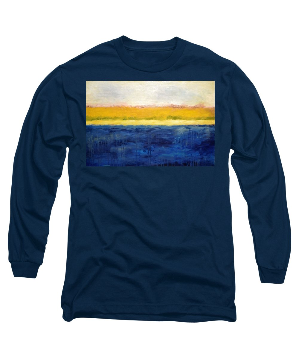 Abstract Landscape Long Sleeve T-Shirt featuring the painting Abstract Dunes With Blue And Gold by Michelle Calkins