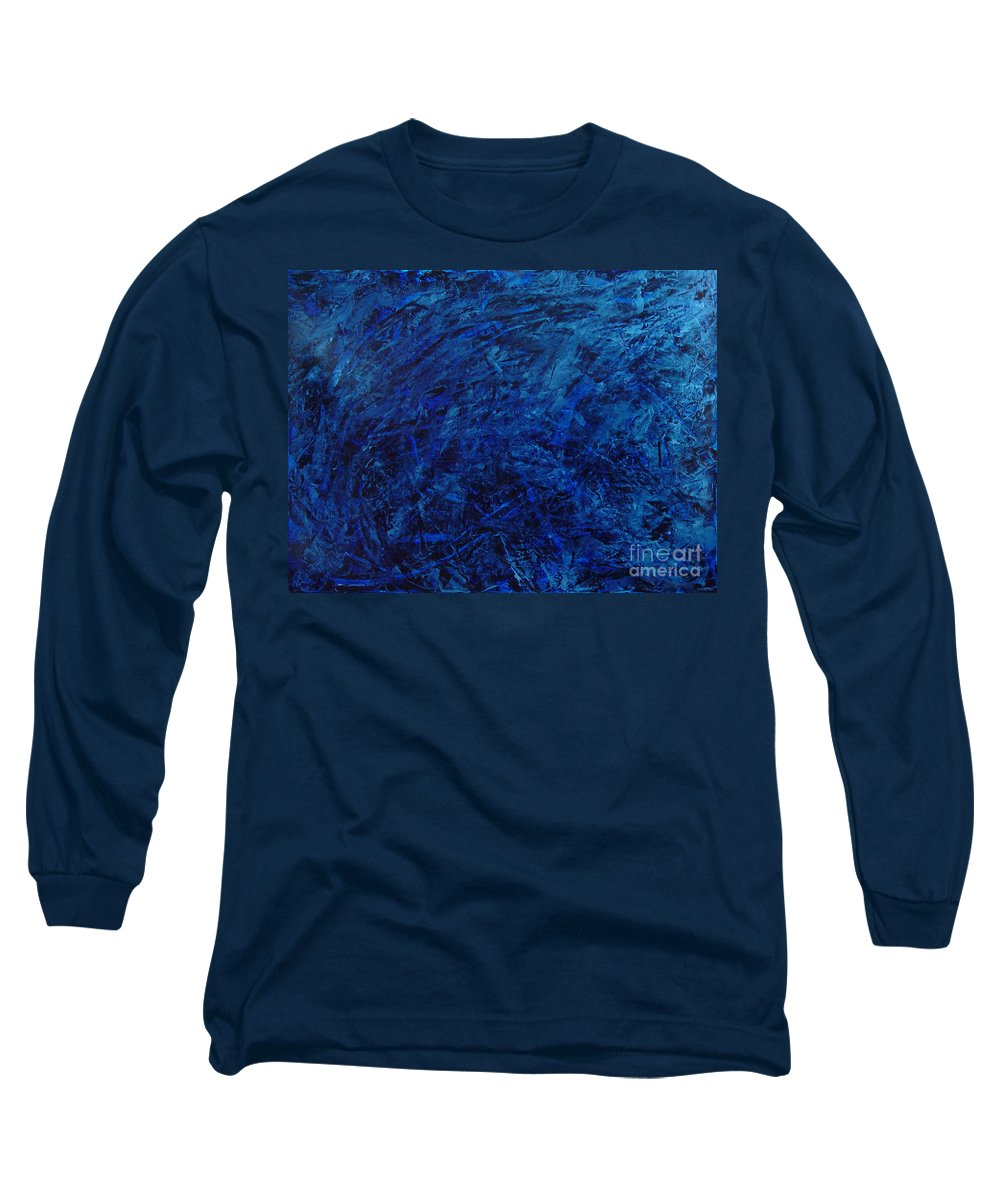Abstract Long Sleeve T-Shirt featuring the painting Alans Call by Dean Triolo