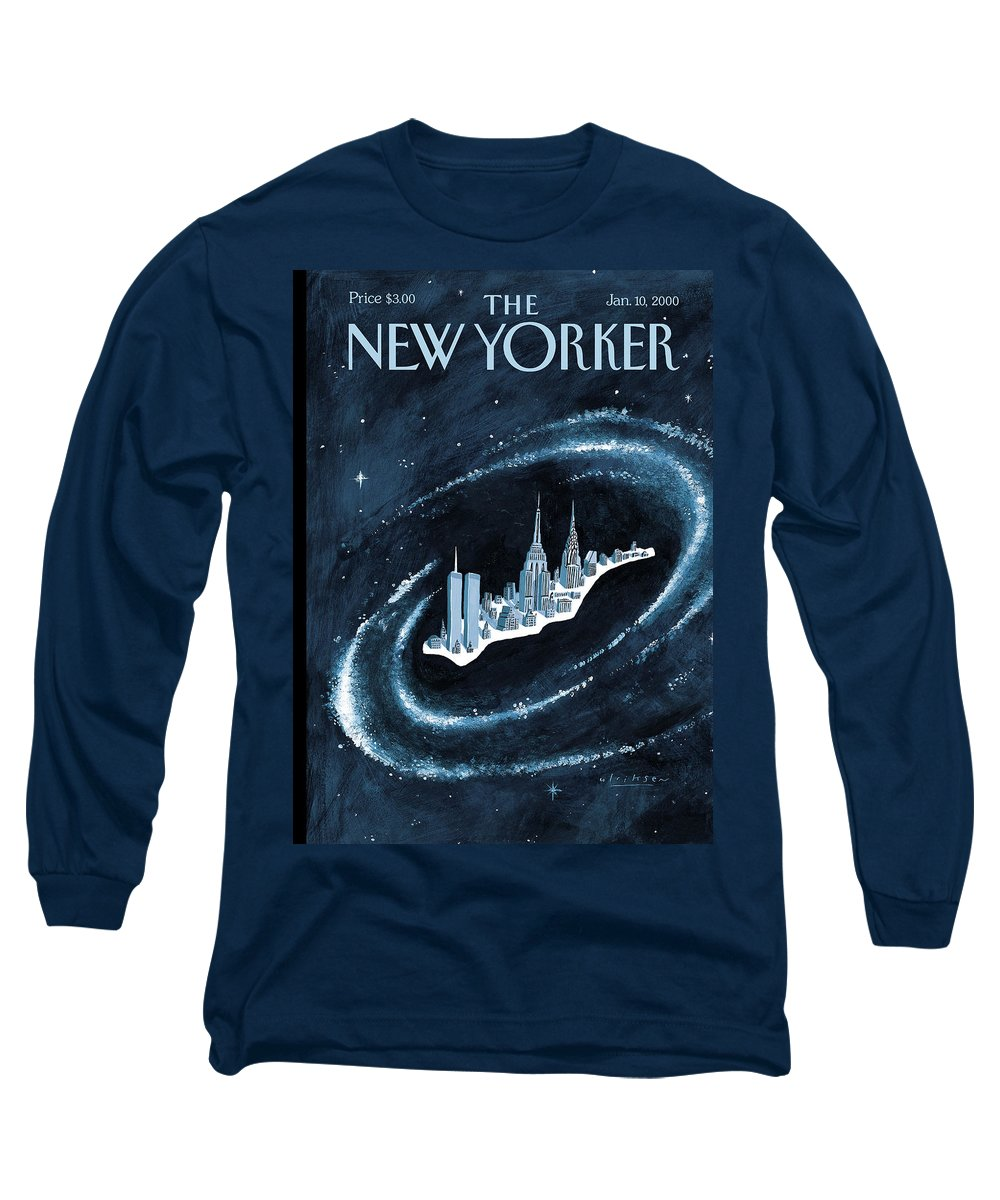 Center Of The Universe New York Manhattan Empire State Building Twin Towers Twintowers World Trade Center Wtc Chrysler Building Space Universe Milky Way Stars Outer Galaxy Cosmos Cosmic  Mark Ulriksen Mul Mul Artkey 51151 Long Sleeve T-Shirt featuring the painting Center Of The Universe by Mark Ulriksen