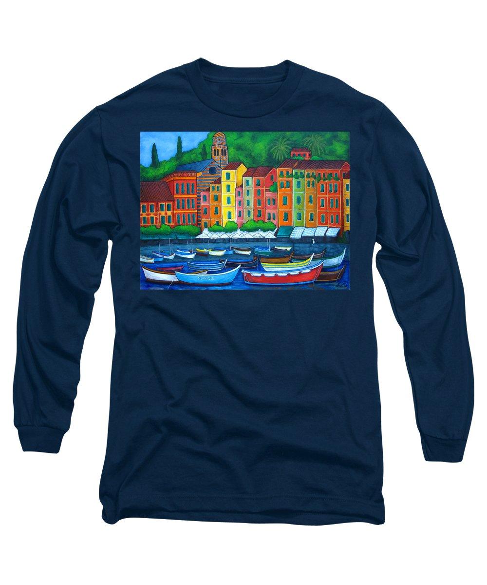Portofino Long Sleeve T-Shirt featuring the painting Colours Of Portofino by Lisa Lorenz