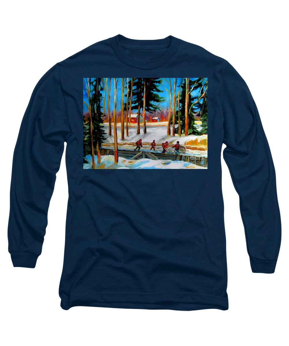 Country Hockey Rink Long Sleeve T-Shirt featuring the painting Country Hockey Rink by Carole Spandau