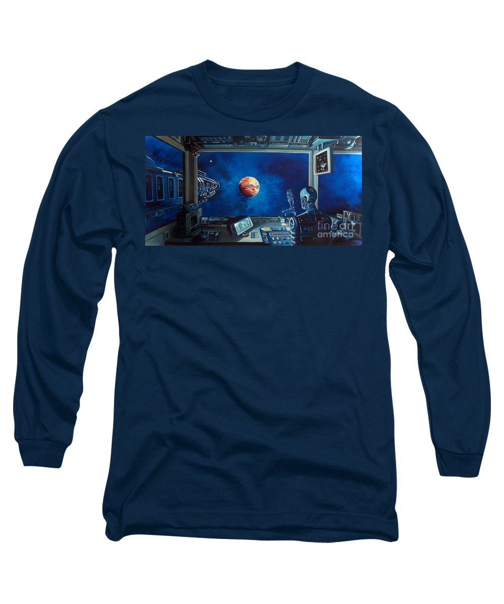 Fantasy Long Sleeve T-Shirt featuring the painting Crying Robot by Murphy Elliott