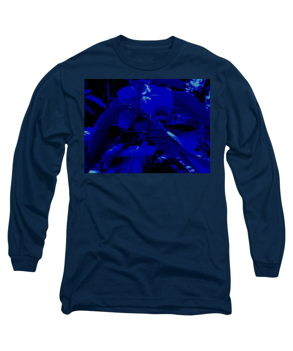 Leaves Long Sleeve T-Shirt featuring the photograph Dark Blue Leaves by Ian MacDonald