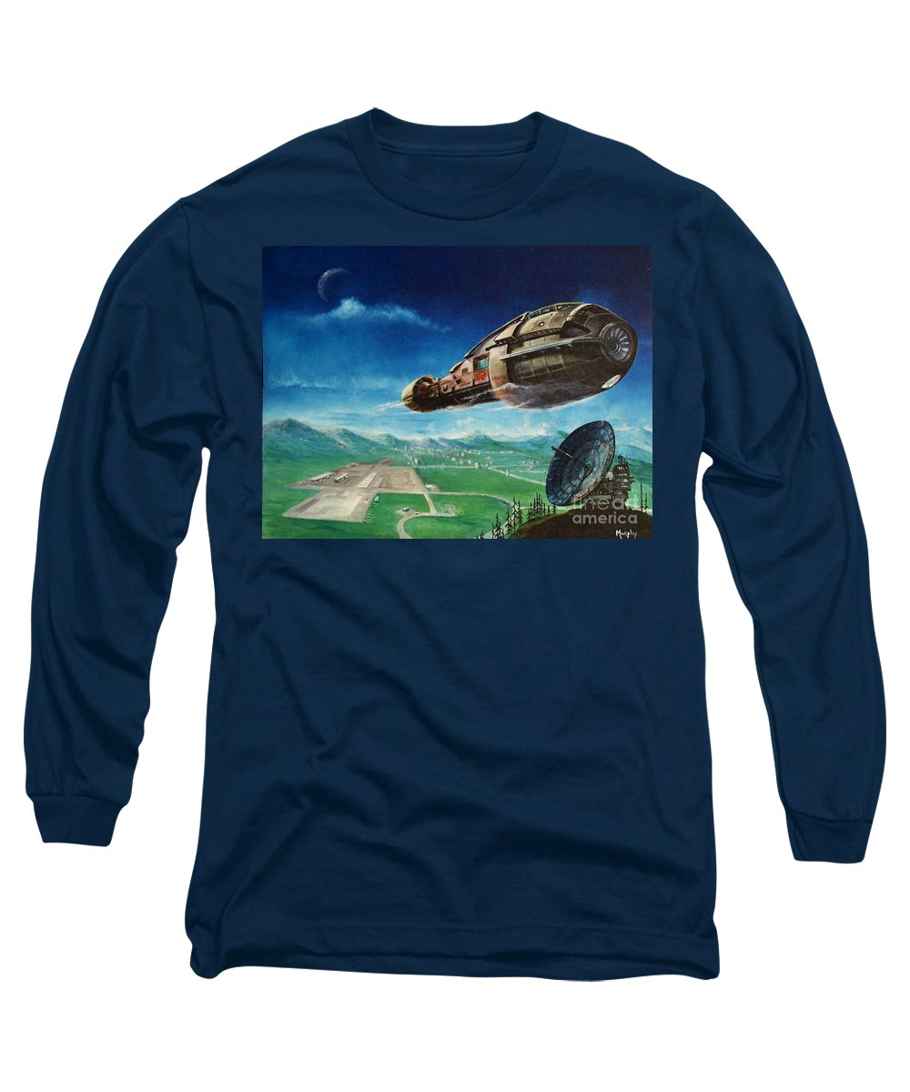 Landscape Long Sleeve T-Shirt featuring the painting Did You Call by Murphy Elliott
