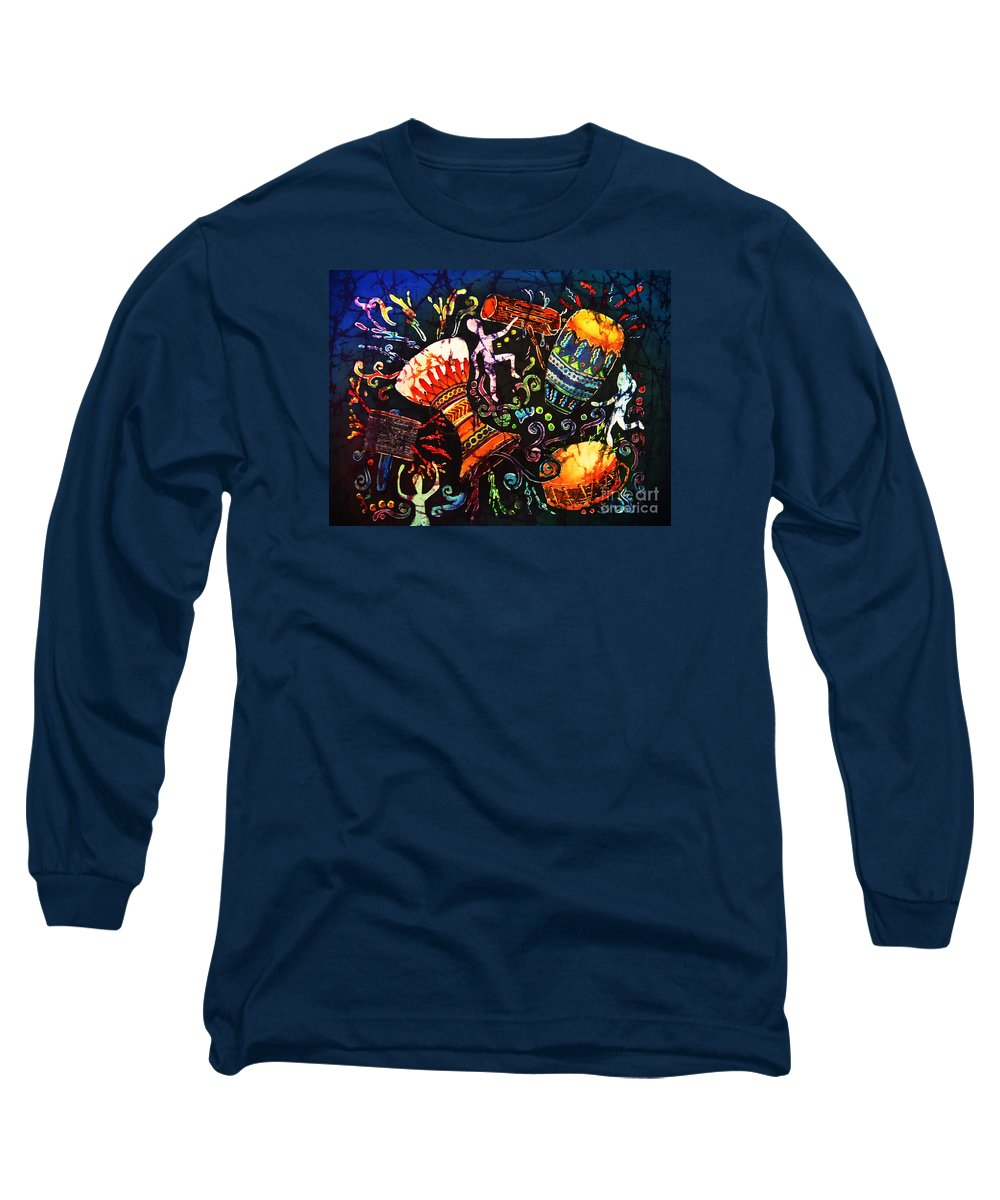 Drums Long Sleeve T-Shirt featuring the painting Drumbeat by Sue Duda