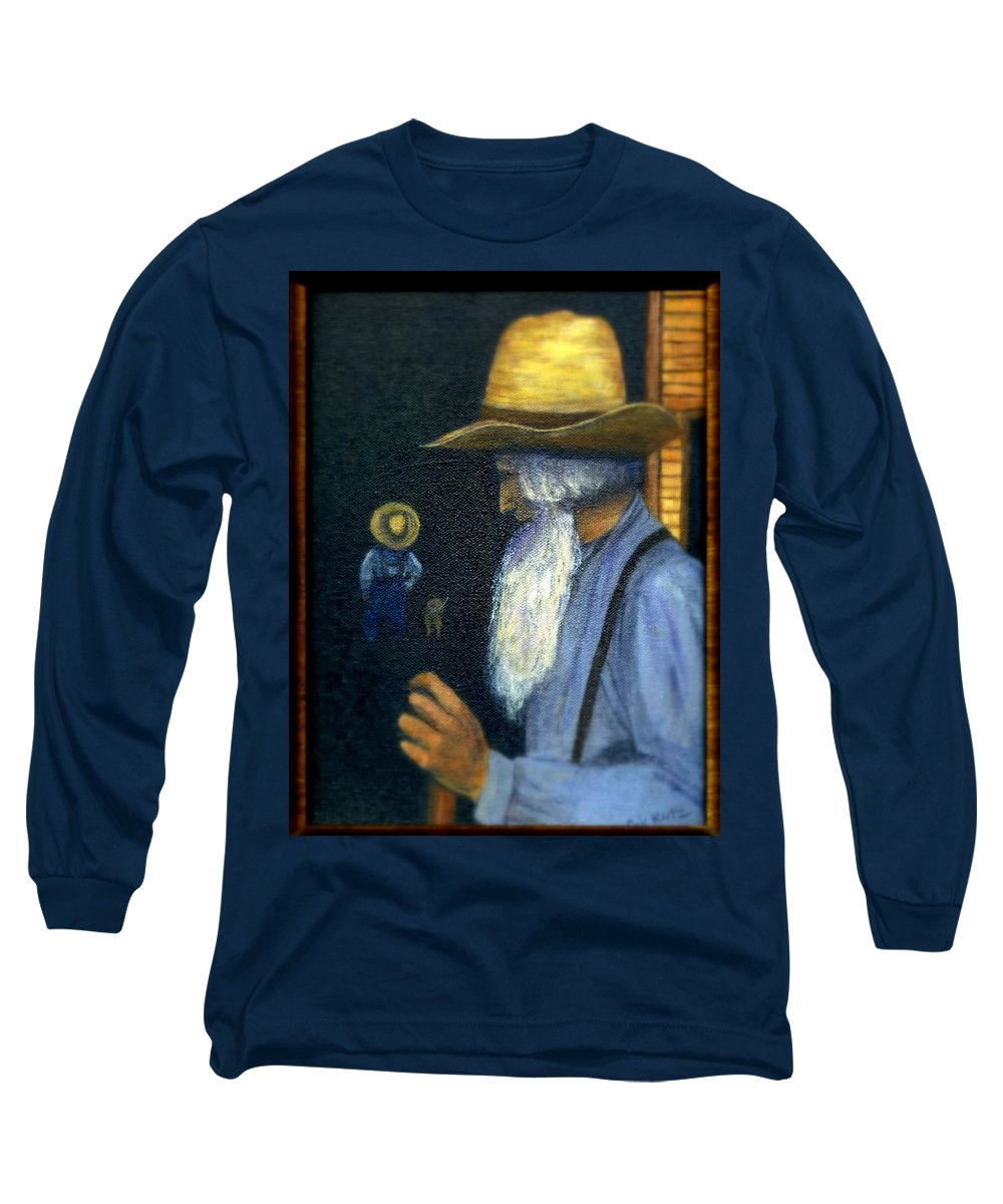Men Long Sleeve T-Shirt featuring the painting Eli Remembers by Gail Kirtz
