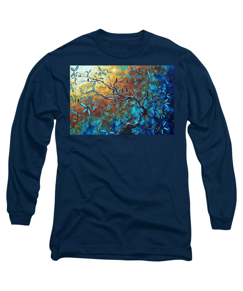 Art Long Sleeve T-Shirt featuring the painting Enormous Abstract Bird Art Original Painting Where The Heart Is By Madart by Megan Duncanson
