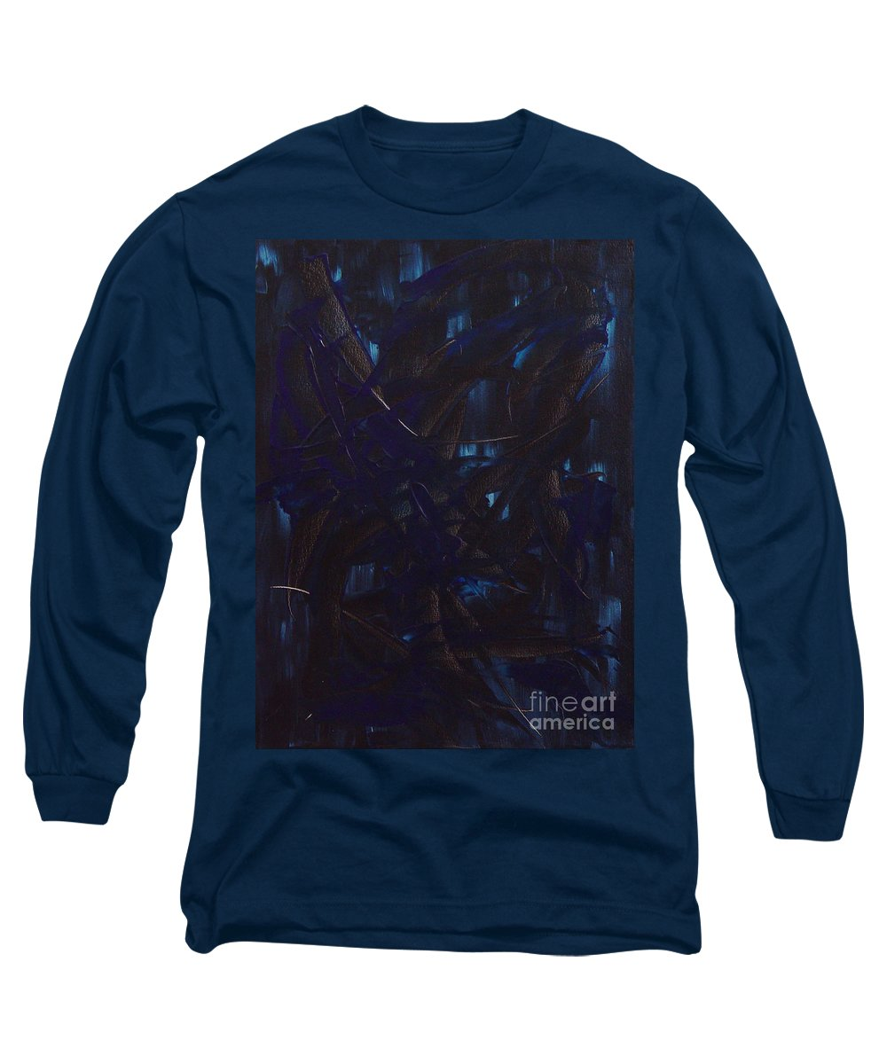 Abstract Long Sleeve T-Shirt featuring the painting Expectations Blue by Dean Triolo