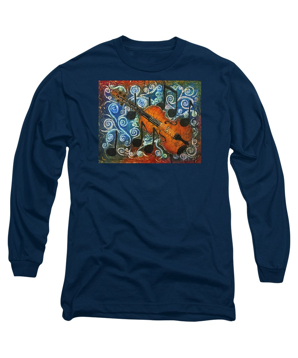 Fiddle Long Sleeve T-Shirt featuring the painting Fiddle 1 by Sue Duda