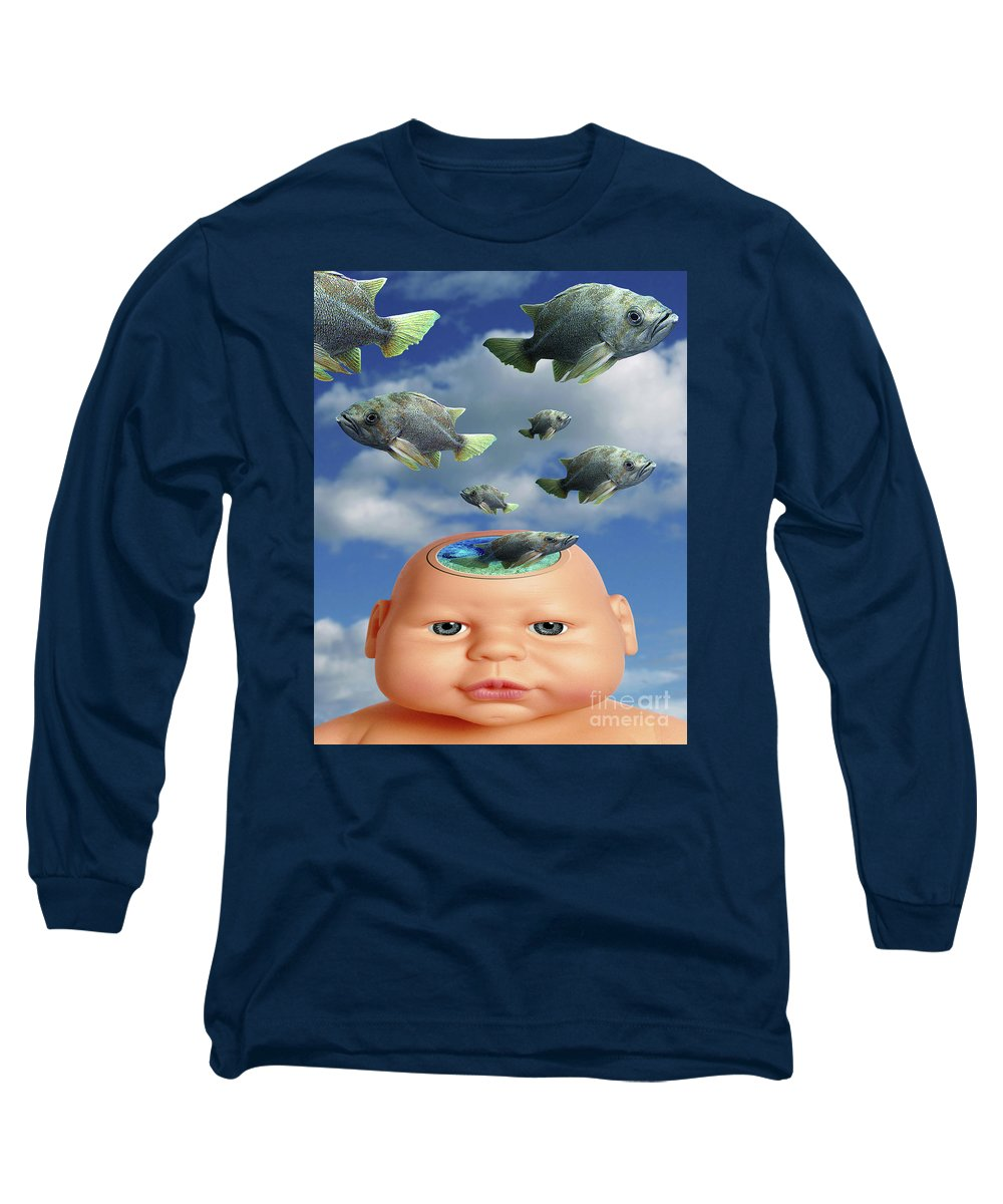Baby Long Sleeve T-Shirt featuring the digital art Flying Head Fish by Keith Dillon