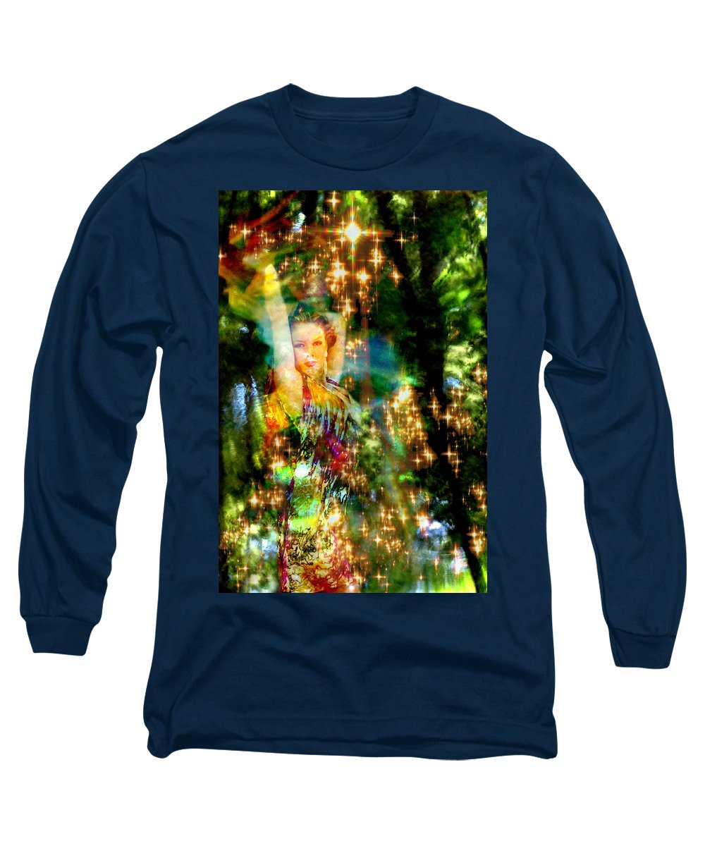 Forest Long Sleeve T-Shirt featuring the digital art Forest Goddess 4 by Lisa Yount