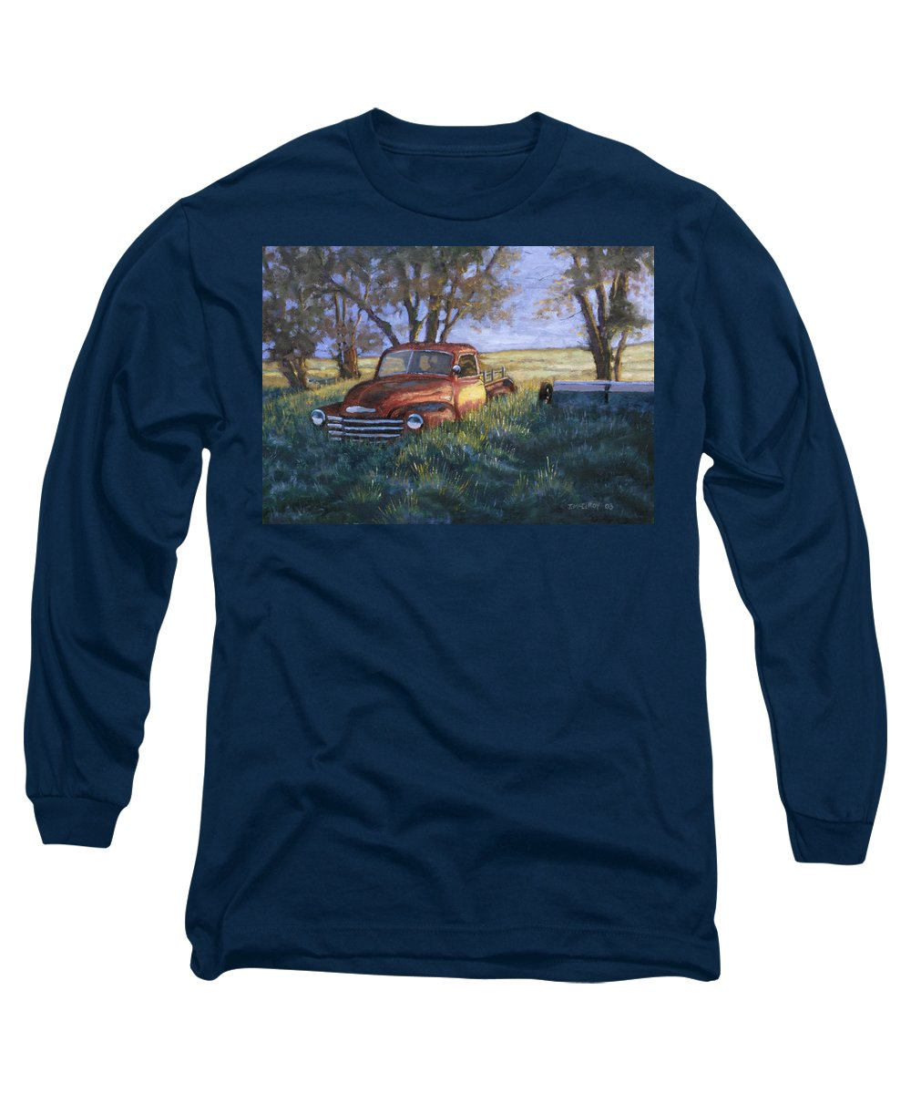 Pickup Truck Long Sleeve T-Shirt featuring the painting Forgotten But Still Good by Jerry McElroy