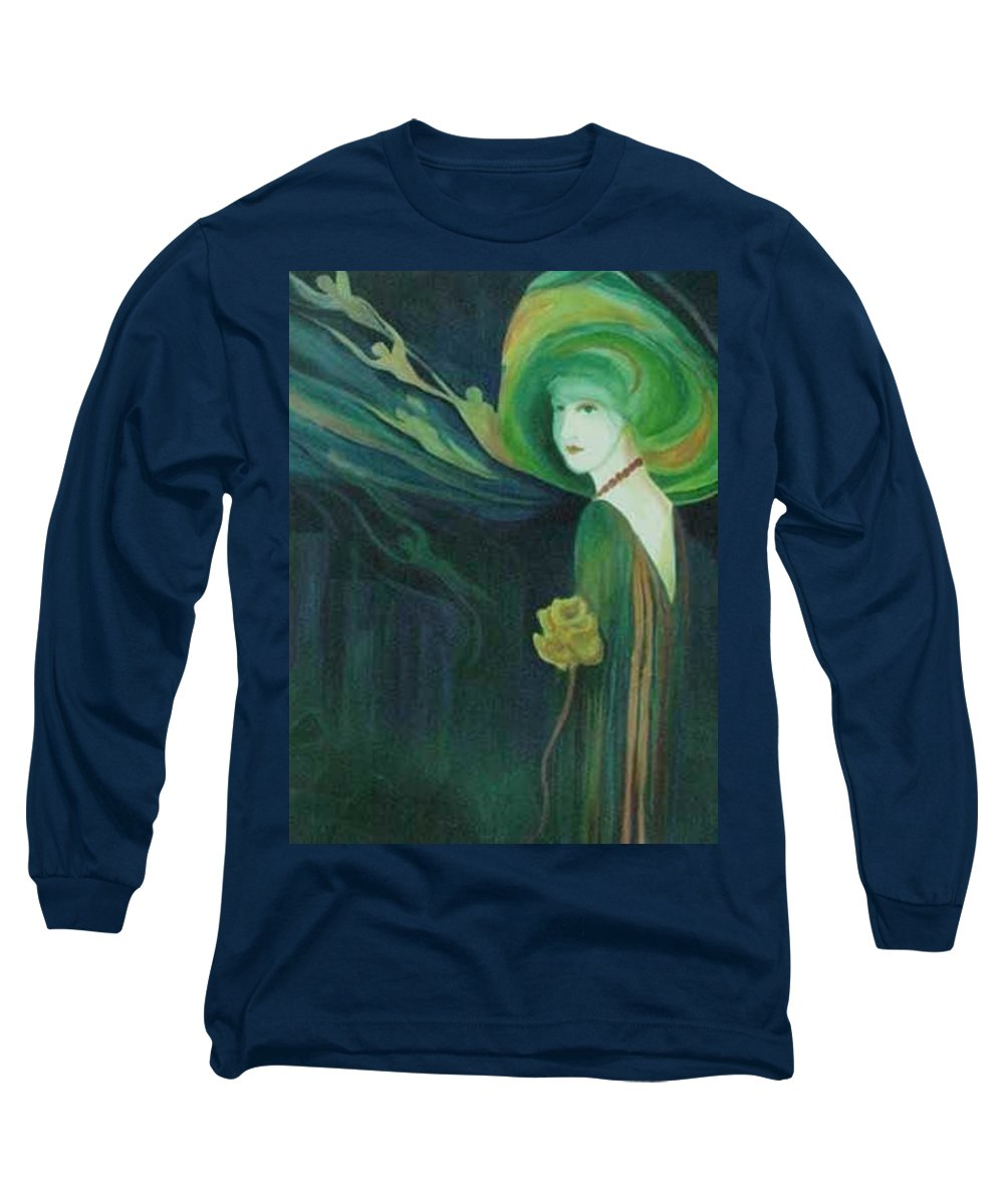 Women Long Sleeve T-Shirt featuring the painting My Haunted Past by Carolyn LeGrand